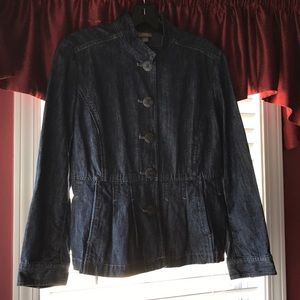 J. Jill Pleated Peplum Denim Jacket Size 8P